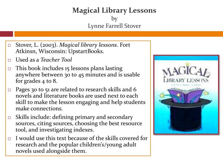 Magical library lessons by lynne farrell stover