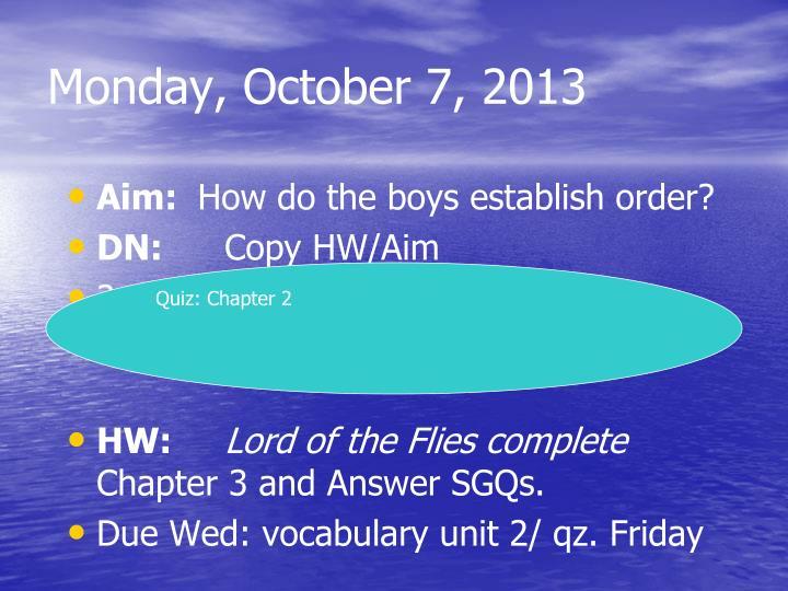 Monday, October 7, 2013