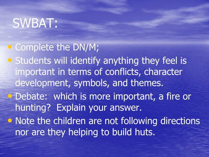 SWBAT: