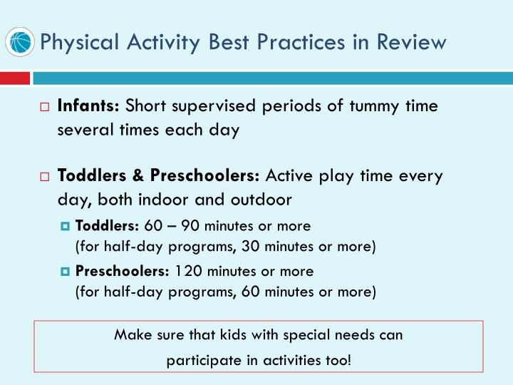 Physical Activity Best Practices in Review