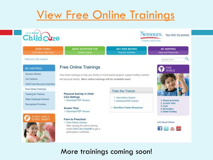 View Free Online Trainings