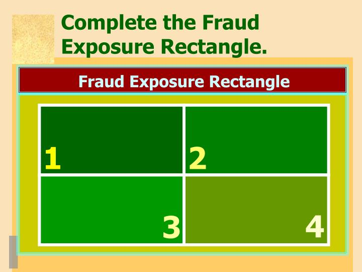 Complete the Fraud Exposure Rectangle.