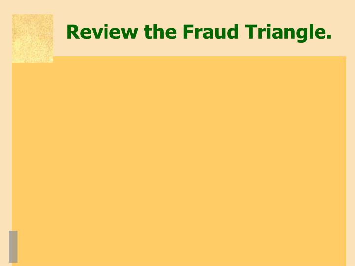 Review the Fraud Triangle.