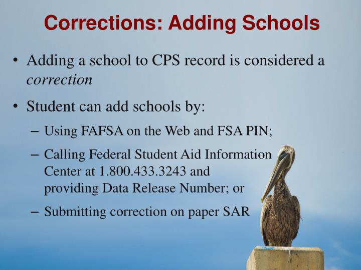 Corrections: Adding Schools