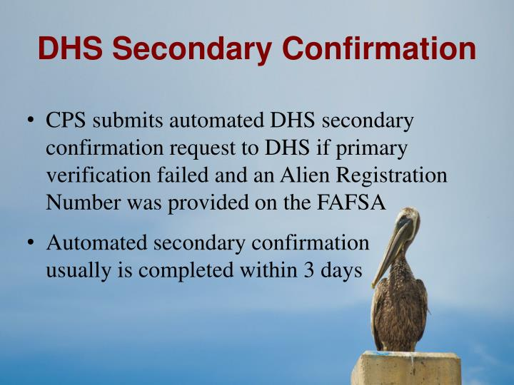 DHS Secondary Confirmation