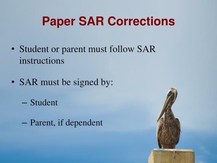 Paper SAR Corrections