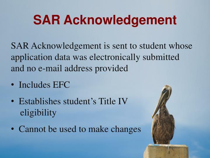 SAR Acknowledgement