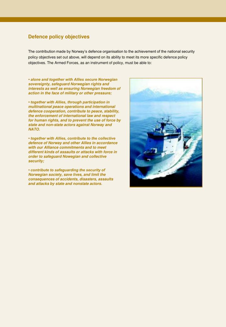 Defence policy objectives