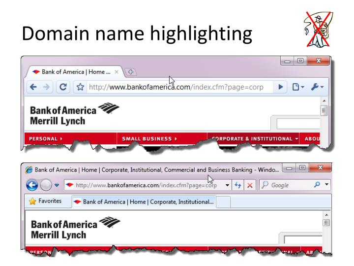 Domain name highlighting