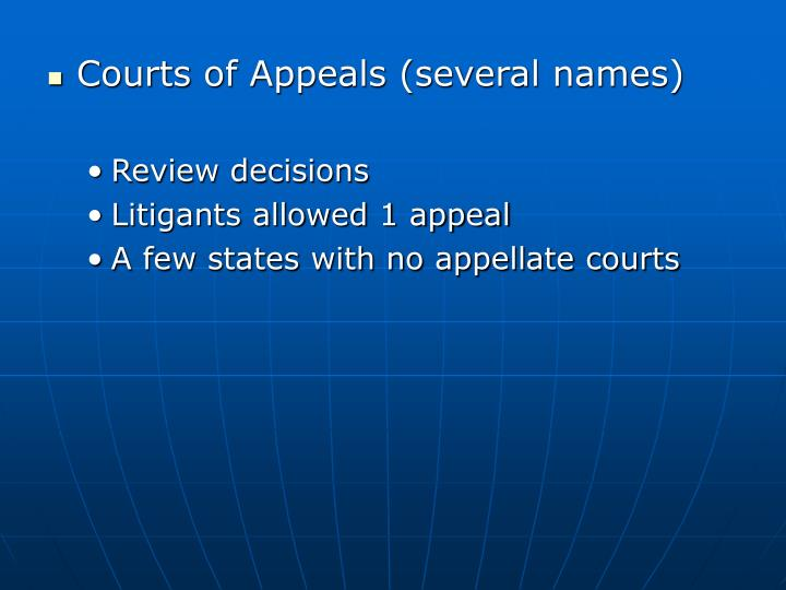 Courts of Appeals (several names)