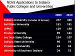 nchs applications to indiana public colleges and universities