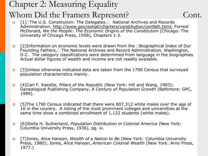 Chapter 2: Measuring Equality