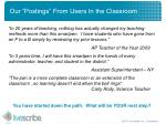 our postings from users in the classroom