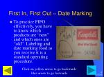 first in first out date marking