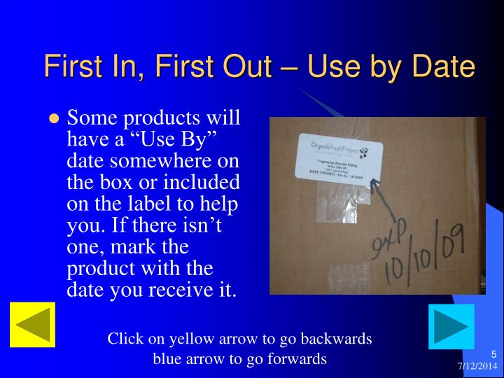 First In, First Out – Use by Date