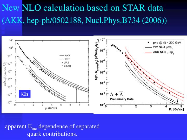 New NLO calculation based on STAR data
