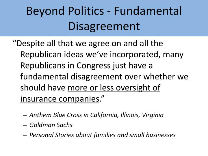 Beyond Politics - Fundamental Disagreement