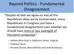 beyond politics fundamental disagreement