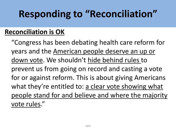"Responding to ""Reconciliation"""