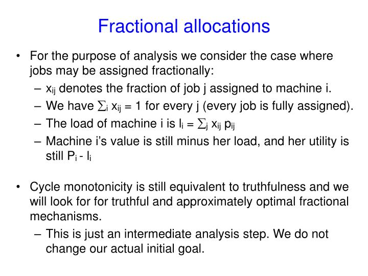 Fractional allocations