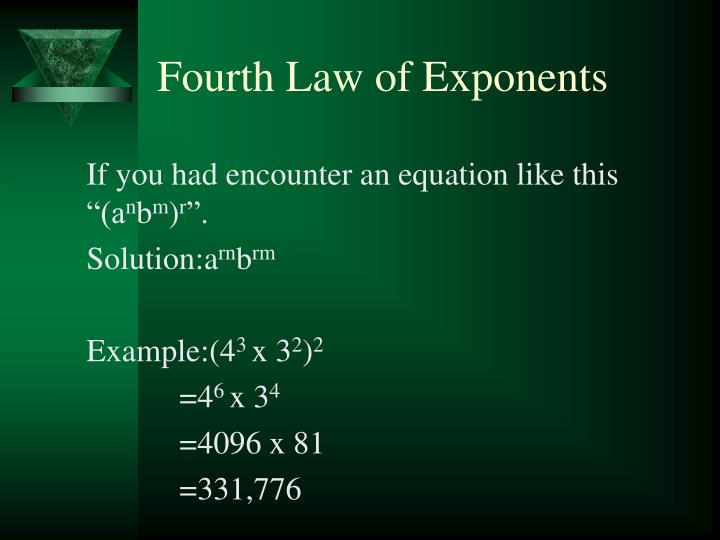 Fourth Law of Exponents