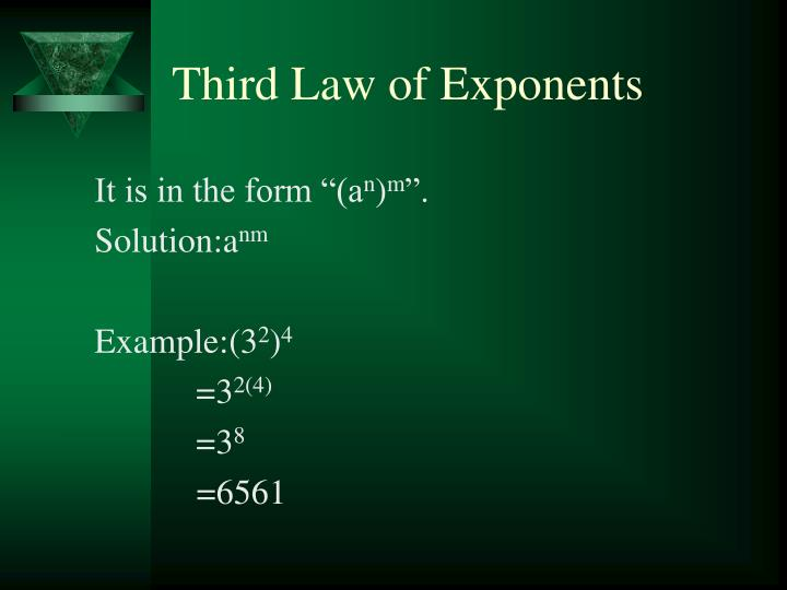 Third Law of Exponents