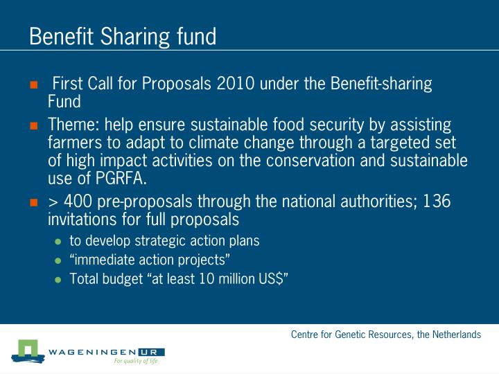 Benefit Sharing fund
