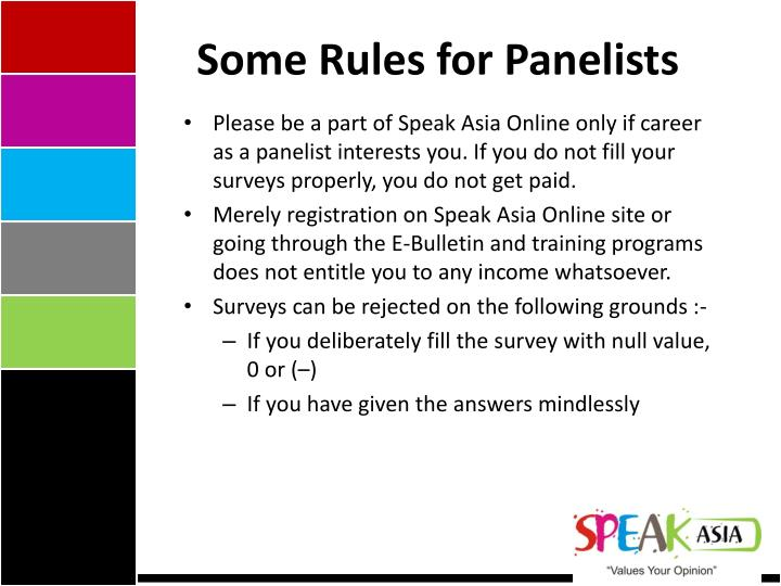 Some Rules for Panelists
