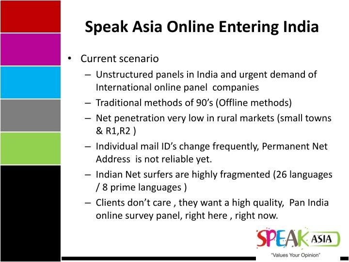 Speak Asia Online Entering India
