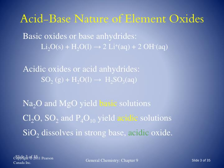 Acid base nature of element oxides