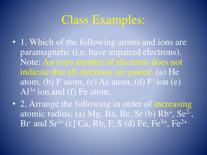 Class Examples: