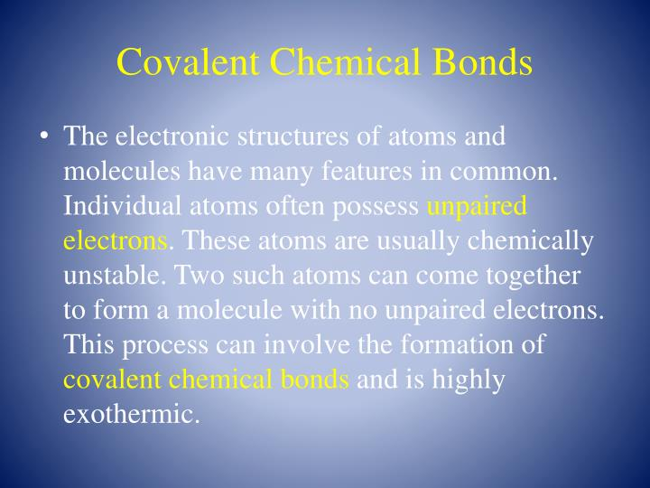 Covalent Chemical Bonds