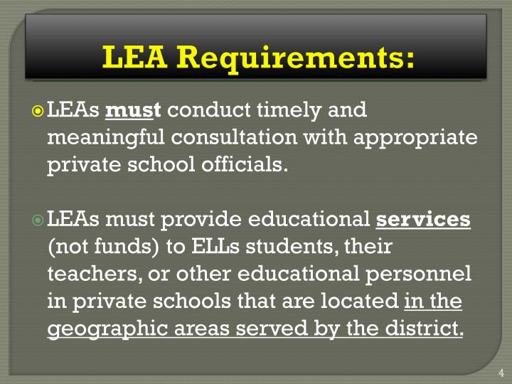 LEA Requirements: