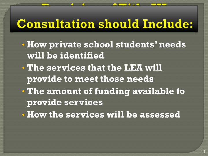 Consultation should Include: