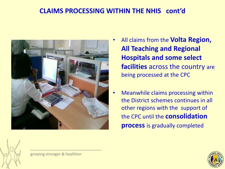 CLAIMS PROCESSING WITHIN THE NHIS   cont'd