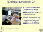 claims processing within the nhis cont d