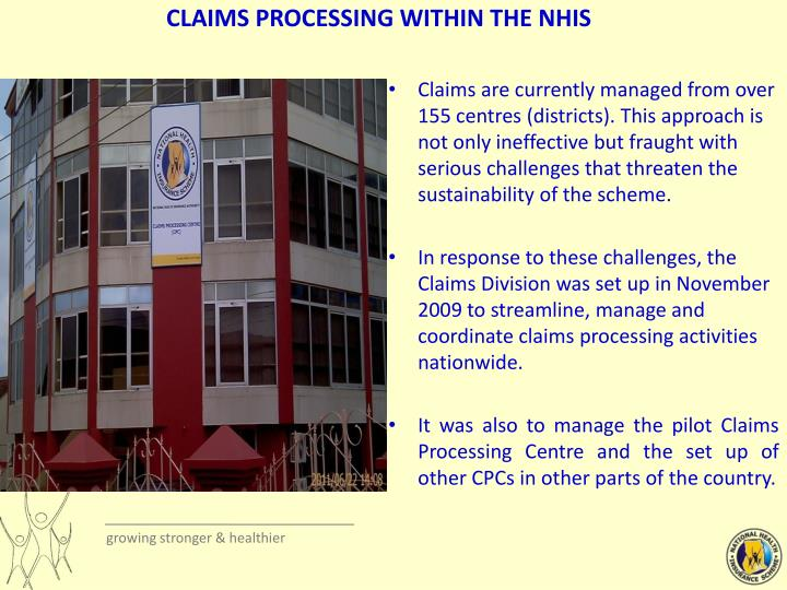 CLAIMS PROCESSING WITHIN THE NHIS