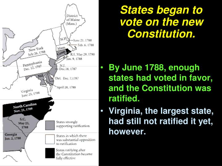 States began to vote on the new Constitution.