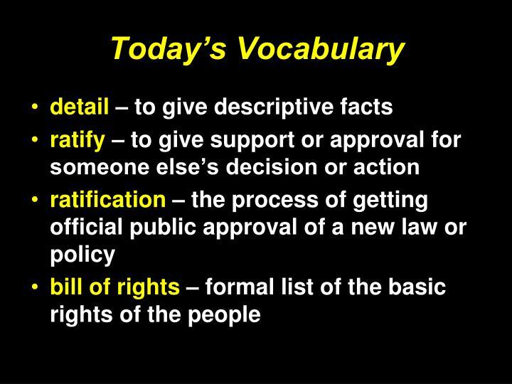 Today's Vocabulary