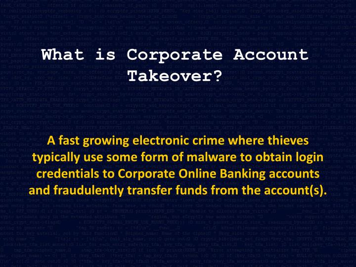 What is Corporate Account Takeover?