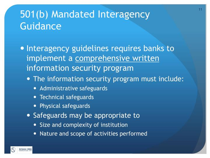 501(b) Mandated Interagency Guidance