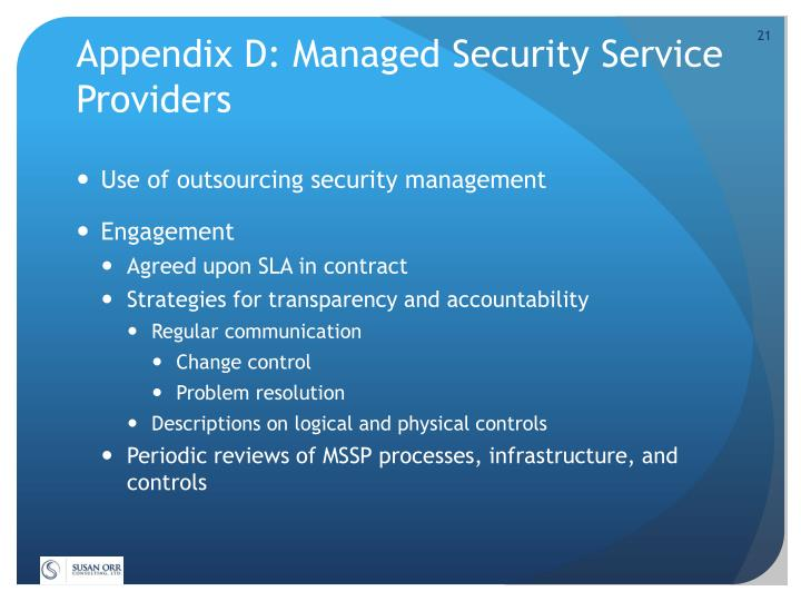 Appendix D: Managed Security Service Providers