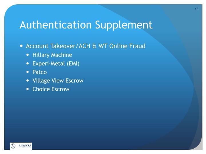 Authentication Supplement