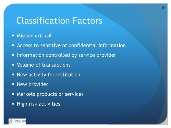 Classification Factors