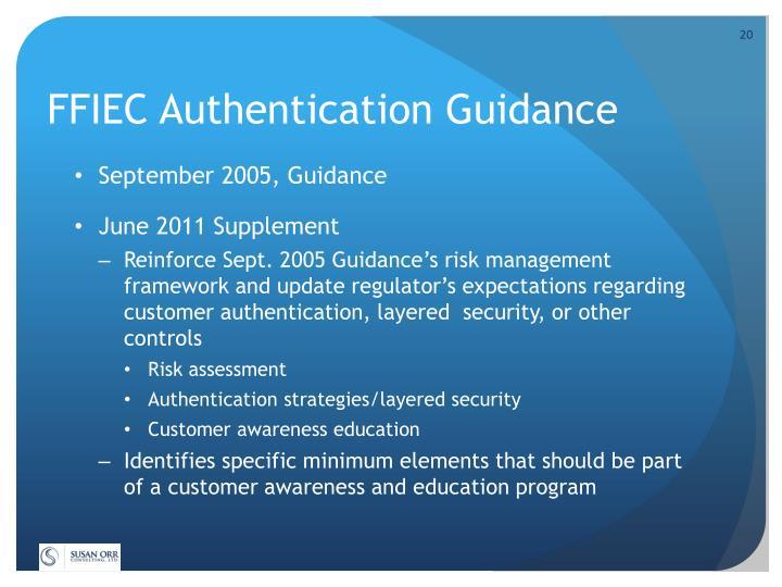 FFIEC Authentication Guidance