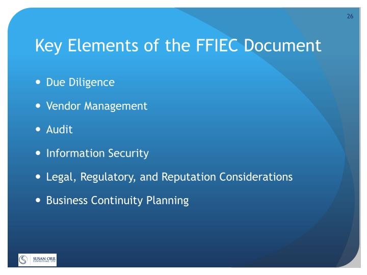 Key Elements of the FFIEC Document