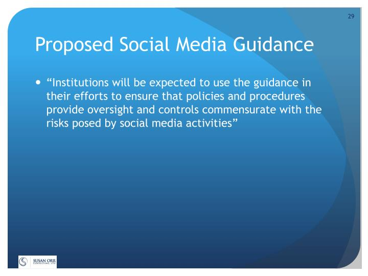 Proposed Social Media Guidance