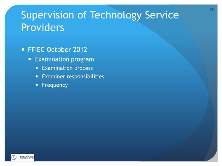Supervision of Technology Service Providers