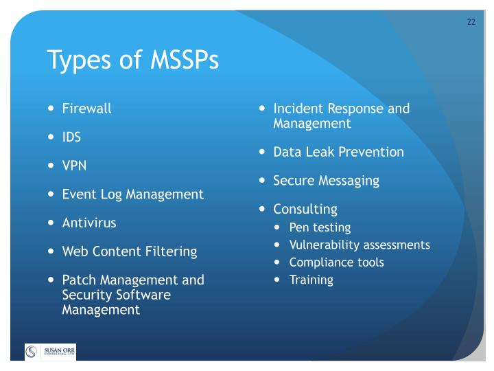 Types of MSSPs