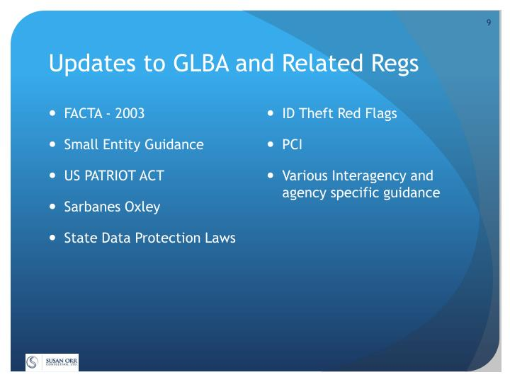 Updates to GLBA and Related Regs